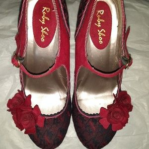 Ruby Shoo Beautiful red and black lace shoes